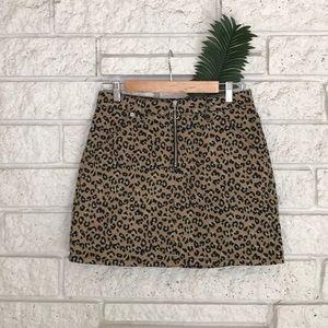 Topshop Moto Half Zip Leopard Denim Skirt